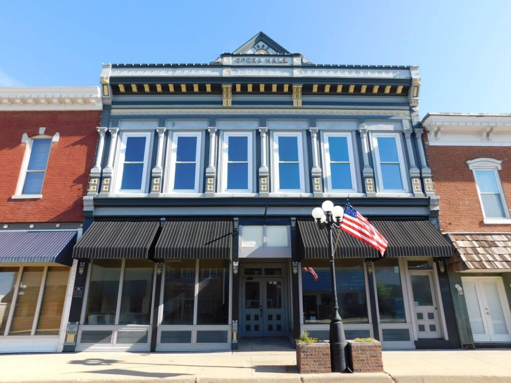 The beautiful facade of the Opera Hall in Arcola, Illinois