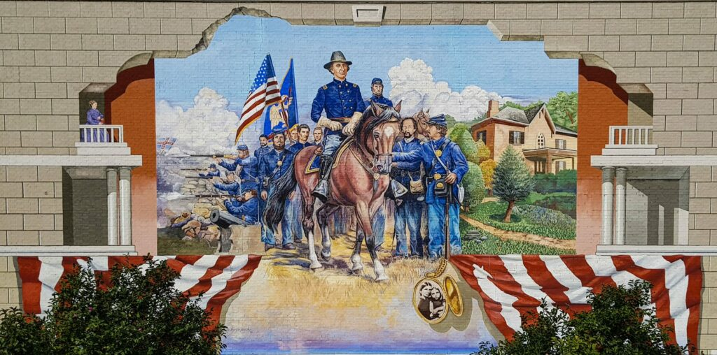 Colorful mural of General Wallace in Ottawa