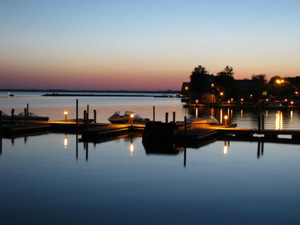 The Rend Lake Marina at dusk