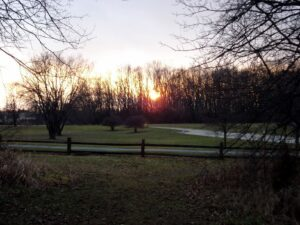 A sunset picture taken right before leaving the parking at Deer Grove