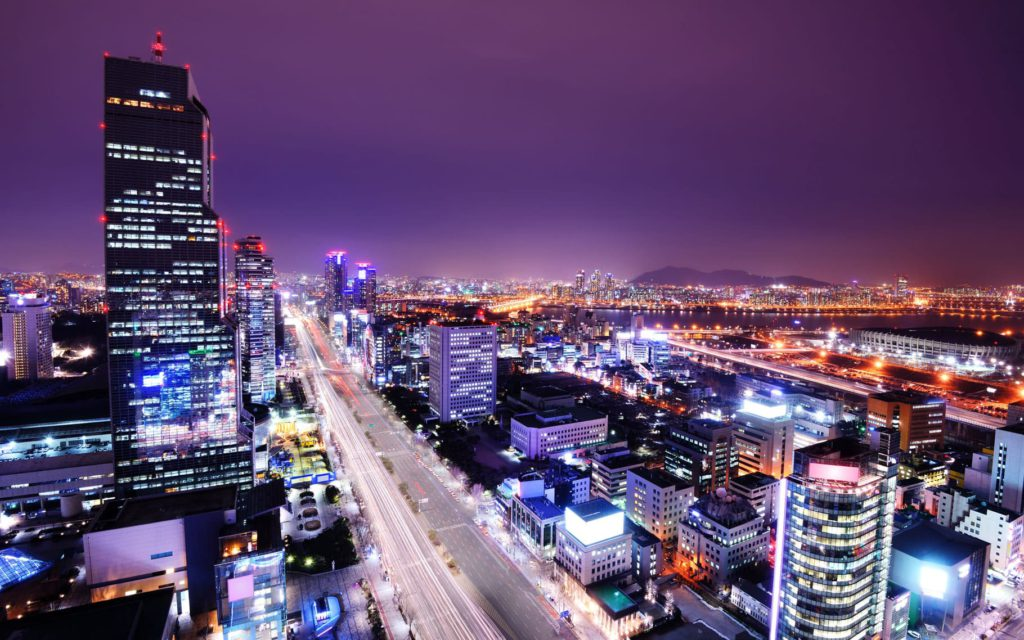 Gangnam by night Seoul South Korea